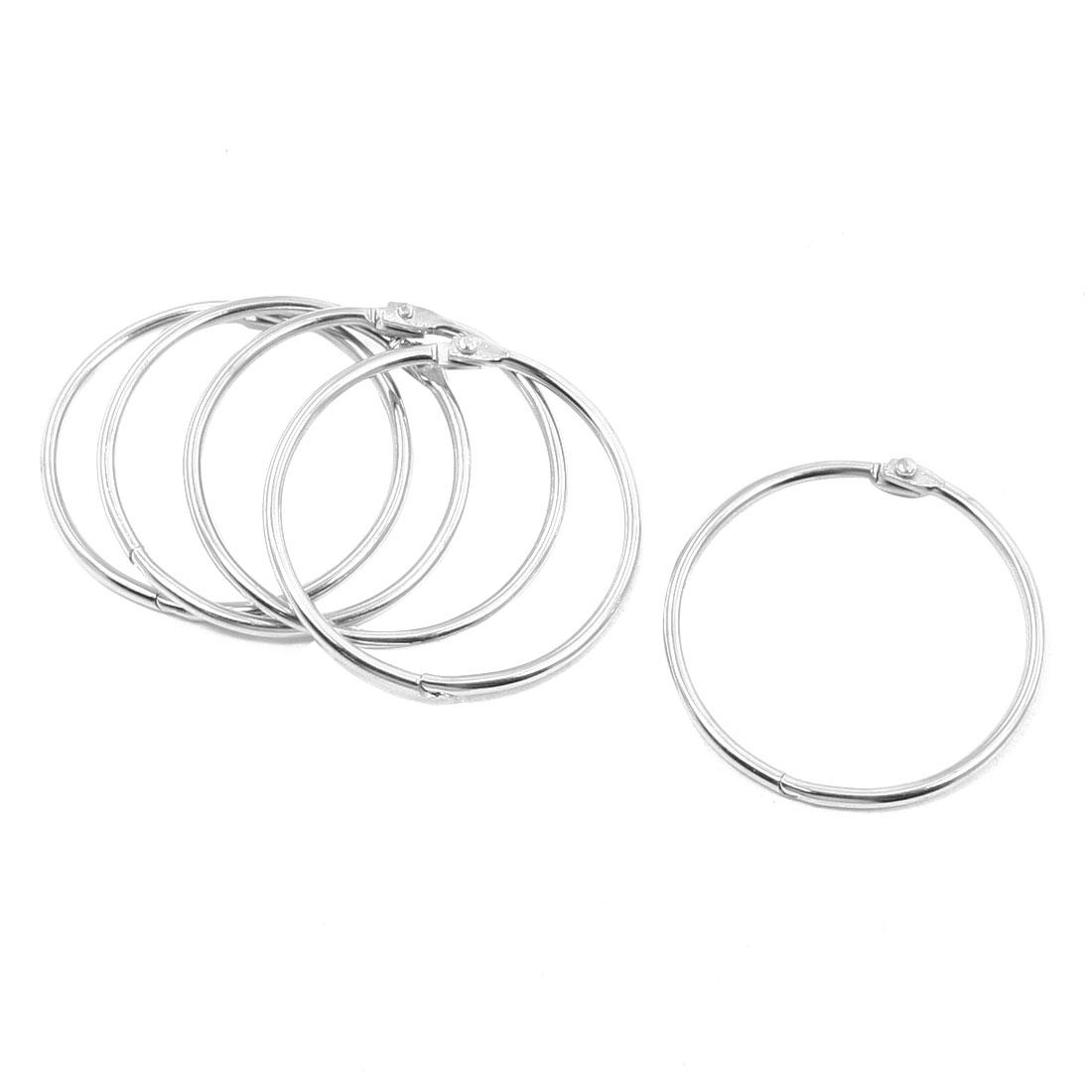 "5 Pcs Portable Silver Tone Metal 2.2"" Diameter Ring Keyring"