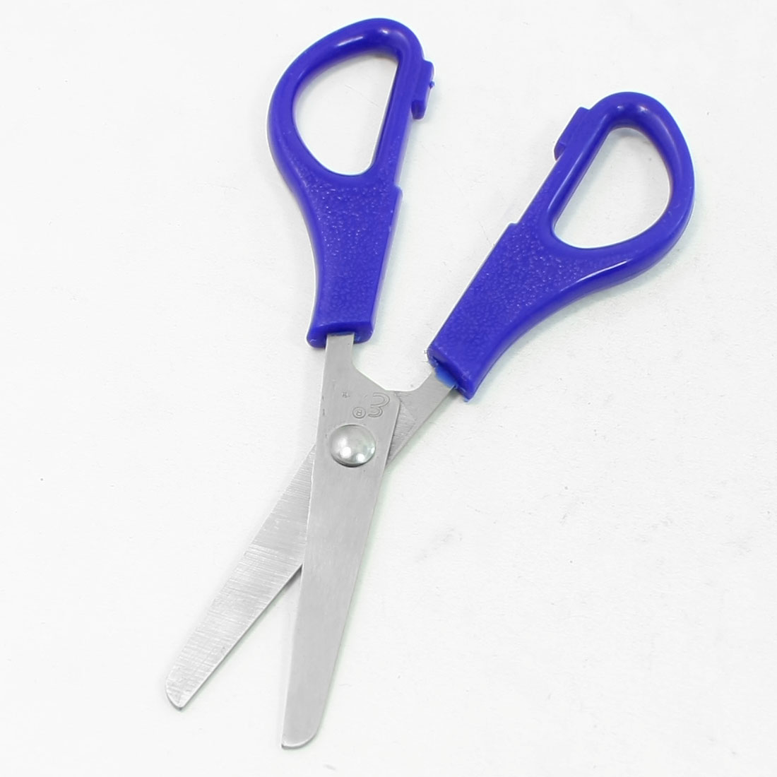 Office Blue Plastic Grip Silver Tone Stainless Steel Blade Scissor