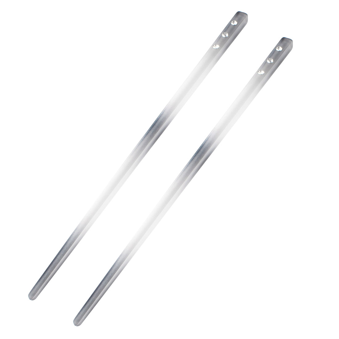 2 Pieces Faux Rhinestone Inlaid Straight Gray Clear Hairstyle Hair Sticks