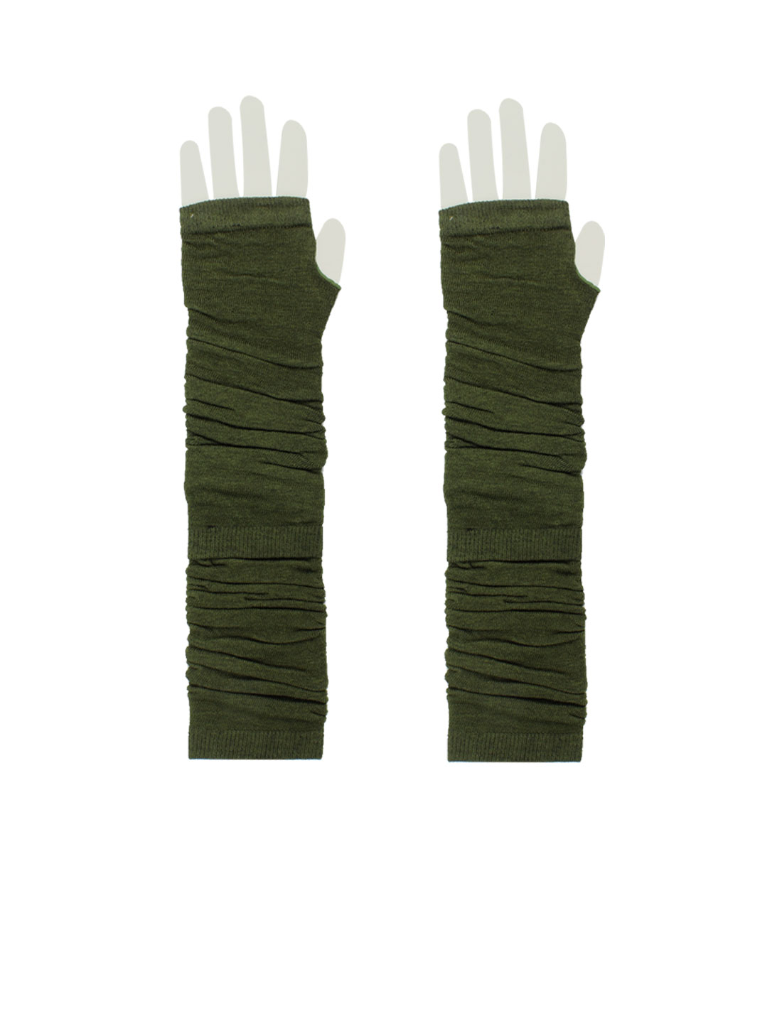 Women Pair Elastic Thumbless Fingerless Arm Warmers Gloves Army Green