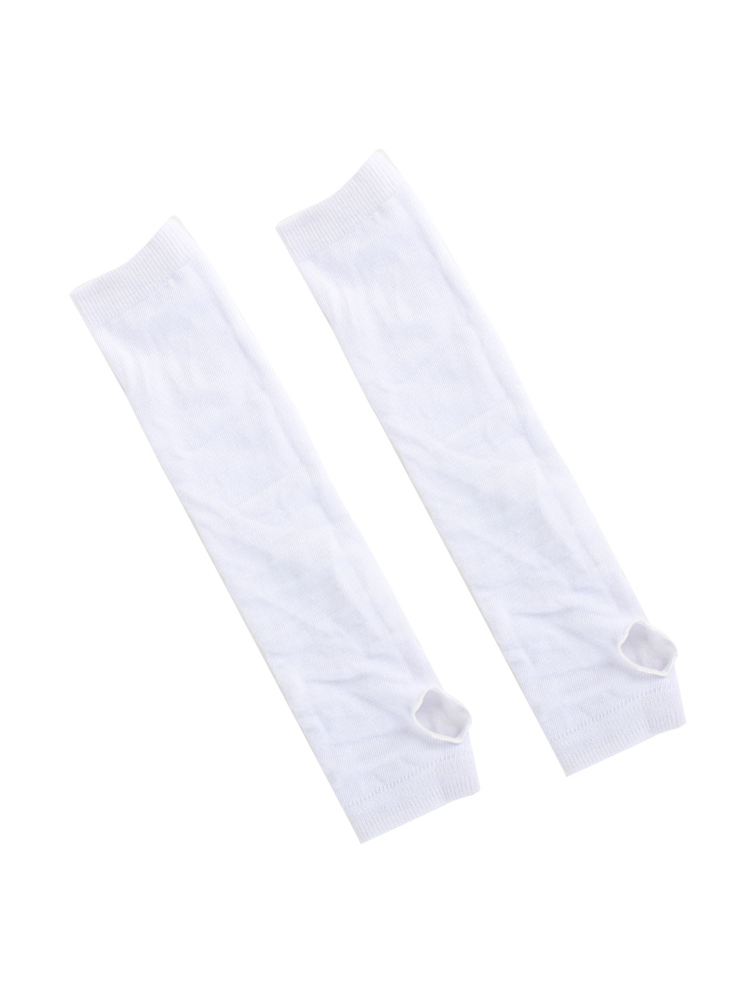 Women Lady White Elastic Thumbless Fingerless Arm Warmers Gloves Pair