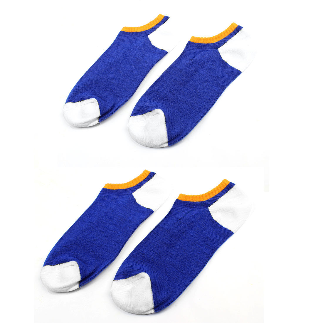 2 Pairs Blue Cotton Blends Elastic Sports Short Cuff Socks for Men