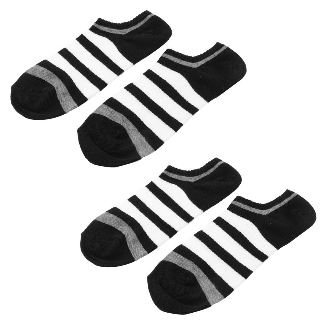 2 Pairs Men Black White Stripe Pattern Short Cut Sport Socks