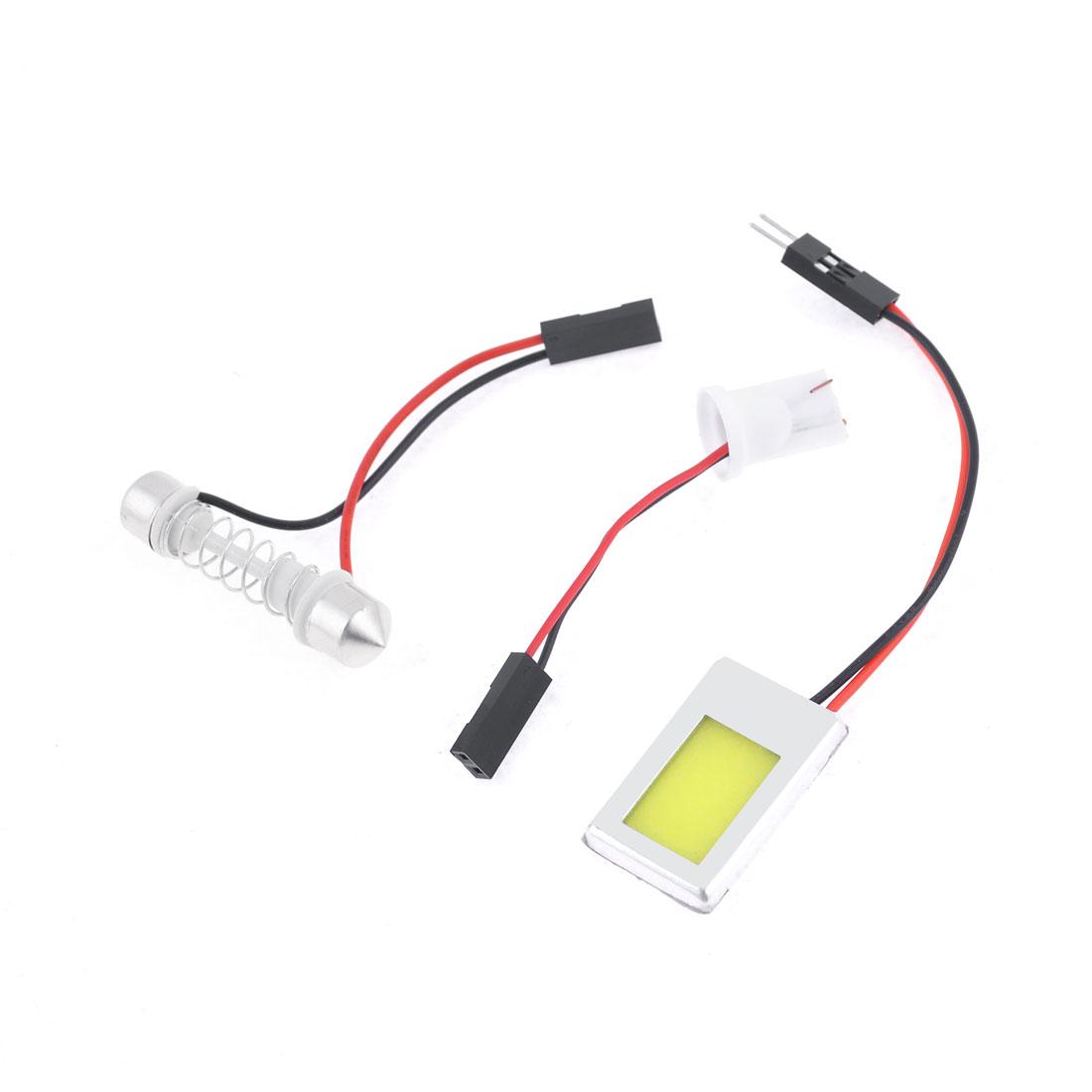 Auto White COB Dome Light Lamp w T10 Festoon Adapter