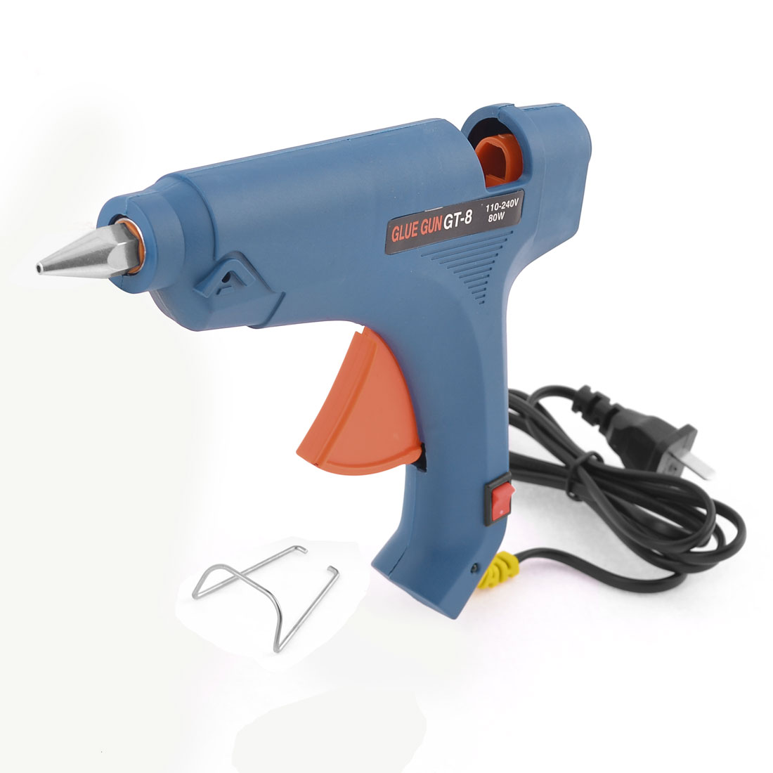 US Plug AC100-240V 80W US Plug Hot Melt Trigger Mini Glue Gun Blue Orange