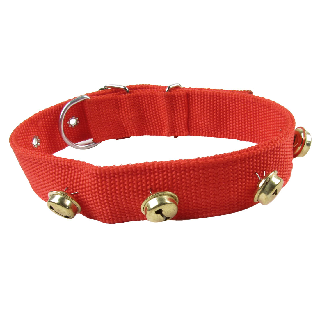 3cm Wide Metal Jingle Bell Detail Adjustable Pet Dog Puppy Collar Red Belt