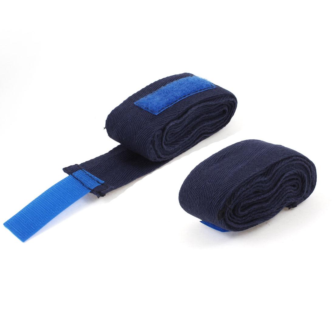 Boxer Boxing 7.3Ft Long Textured Hand Wraps Strap Bandage Navy Blue 2 Pcs