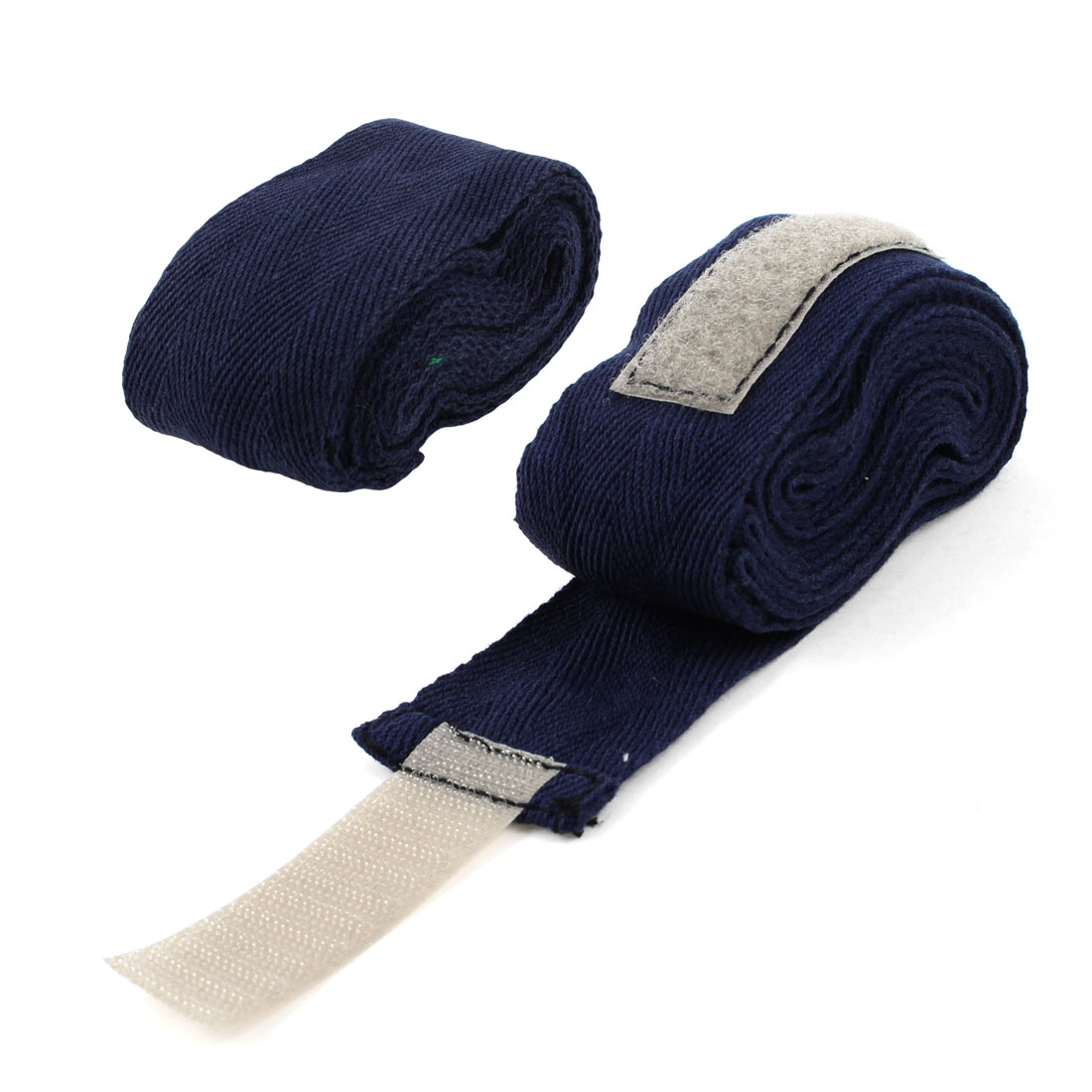 Boxer Boxing Hook Loop Fastener Navy Blue Hand Wraps Bandages 7.5Ft 2 Pcs