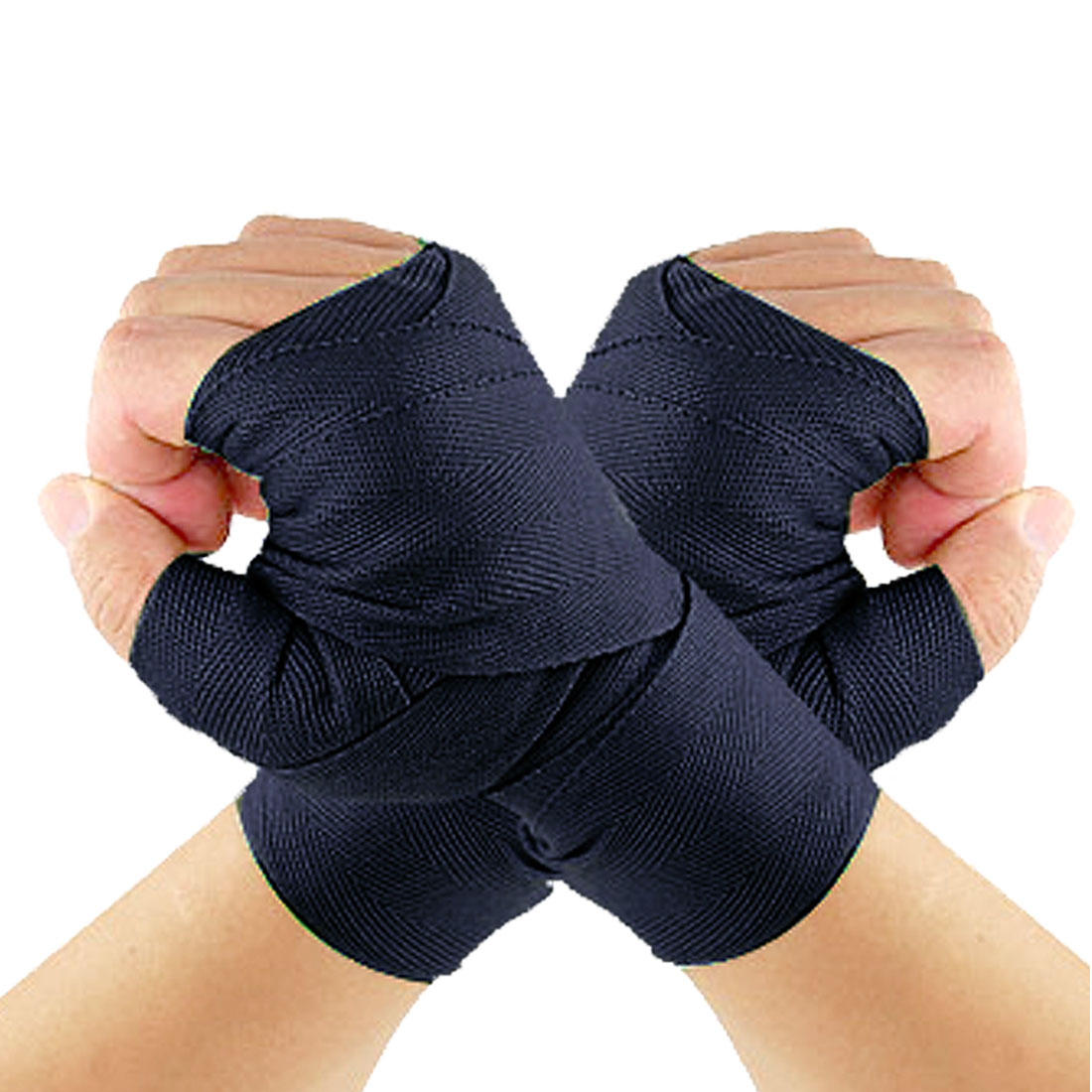 Pair Navy Blue Kickboxing Textured Fabric Hand Wraps Bandages Protector