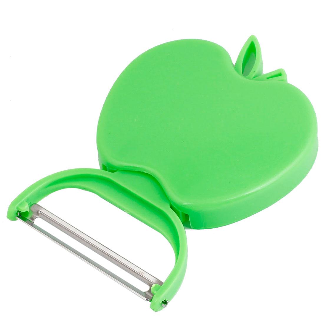 Apple Shape Handy Tool Sharp Metal Cutter Folding Fruit Peeler Green