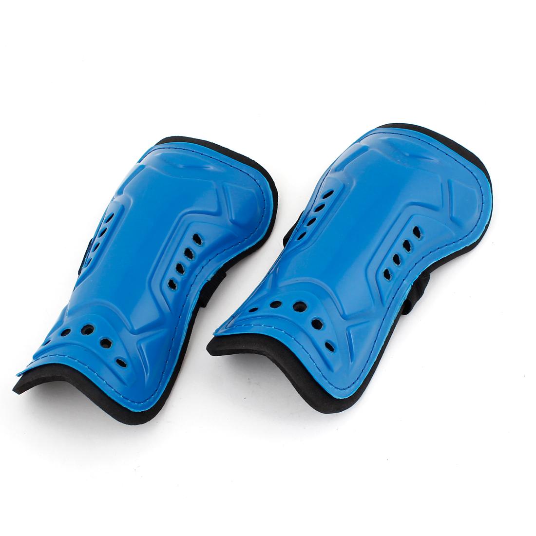 Elastic Band Hook Loop Calf Protector Shin Guard Support Blue 2pcs