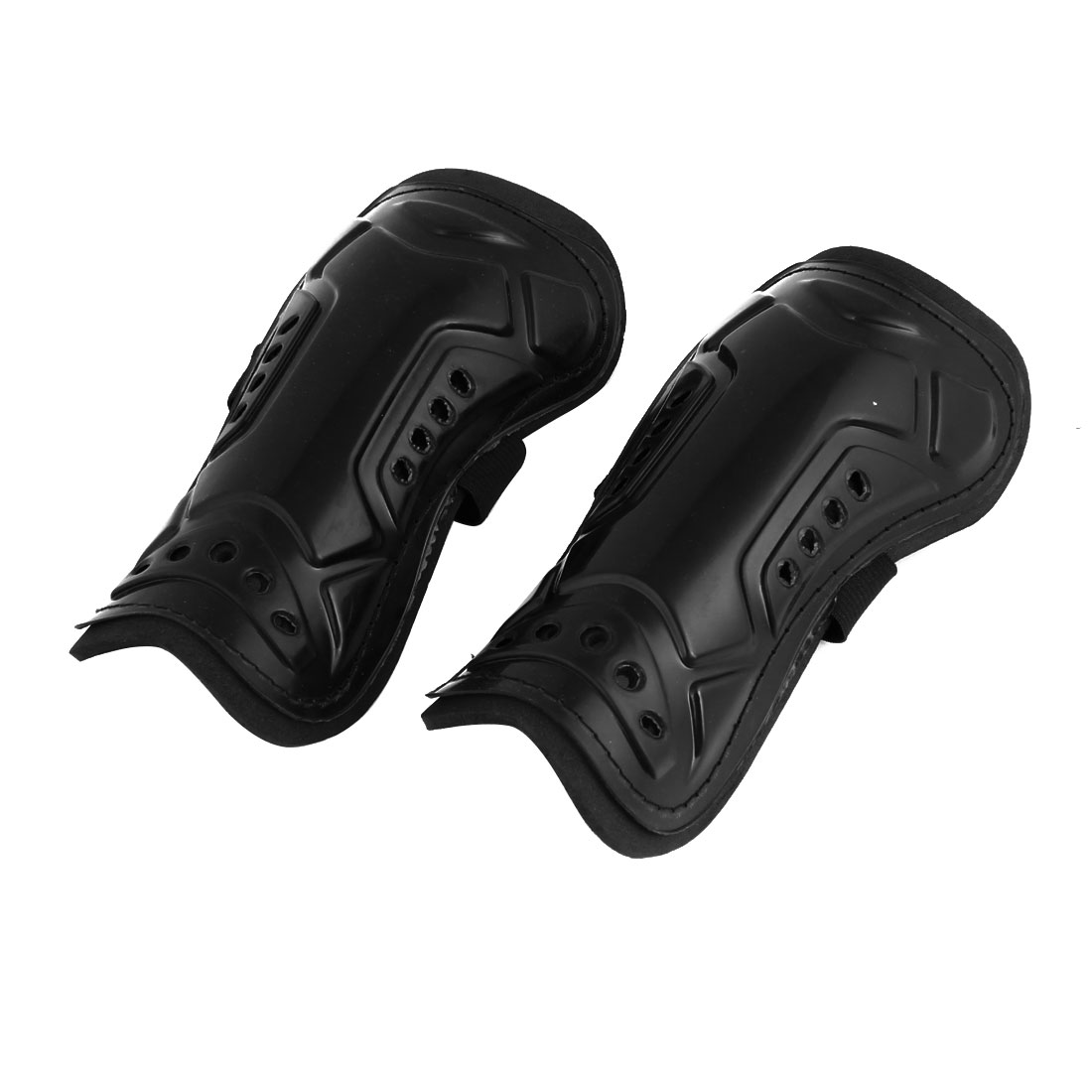 Elastic Band Hook Loop Calf Protector Shin Guard Support Black Pair