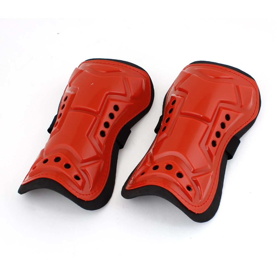 Man Red Plastic Shell Black Foam Sports Calf Shin Support Protector Pair