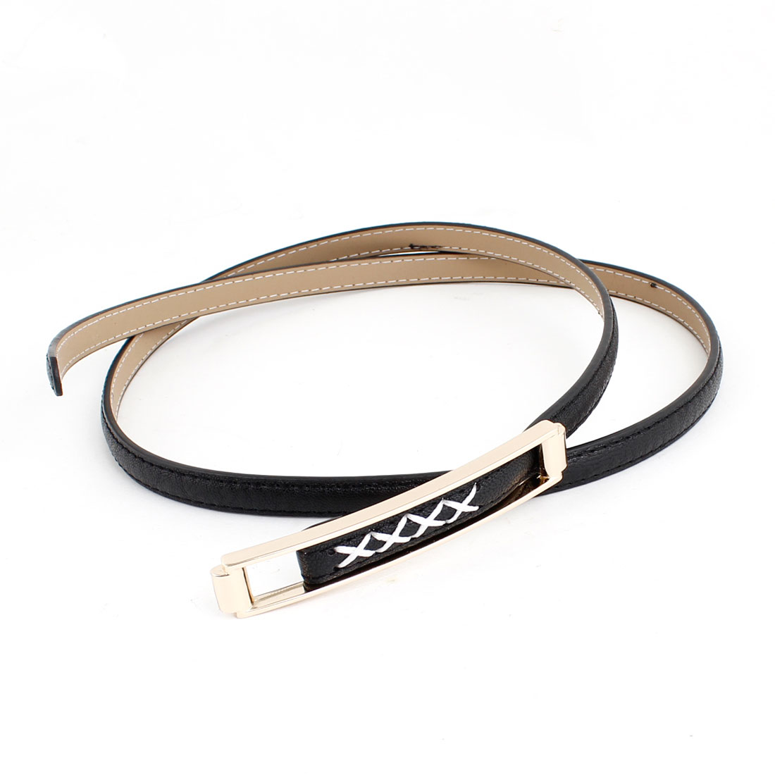 Woman Lady Black Faux Leather Wrapped Adjustable Slim Waist Belt