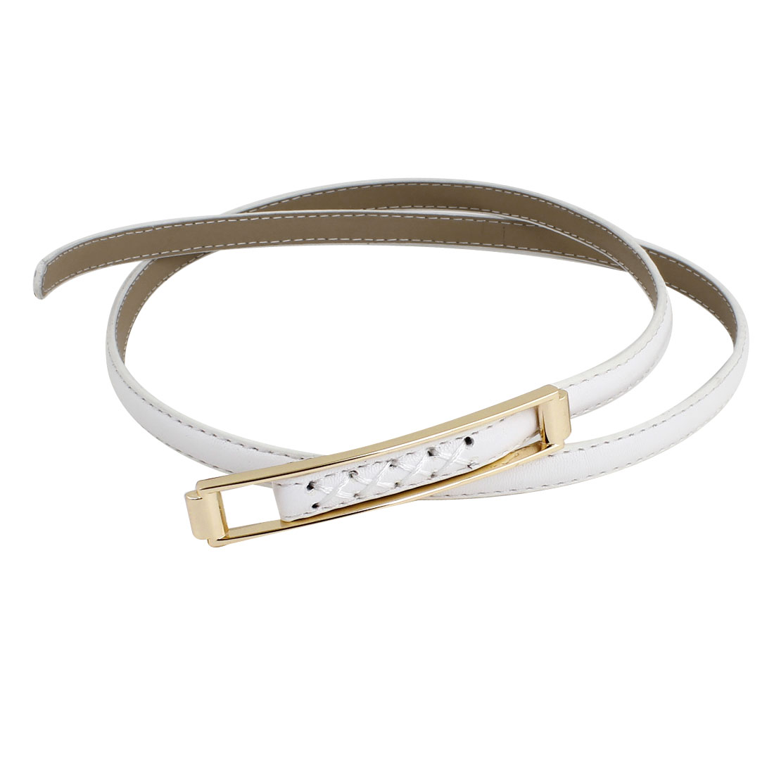 Woman Lady White Faux Leather Wrapped Adjustable Slim Waist Belt