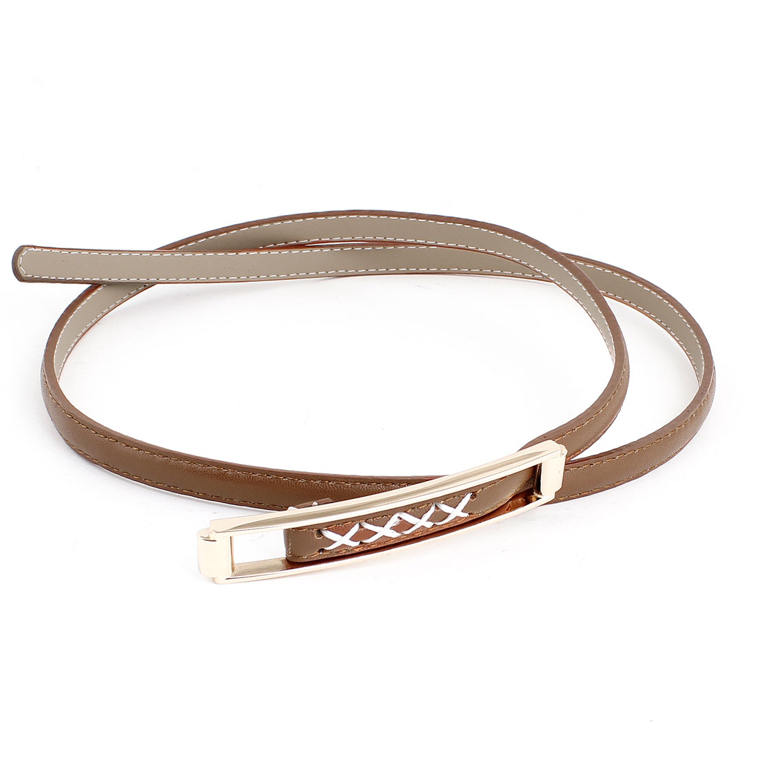 Brown Faux Leather Coated Slide Buckle Waist Belt Band for Ladies