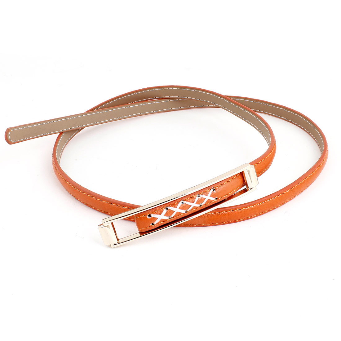 Woman Lady Orange Faux Leather Wrapped Adjustable Slim Waist Belt
