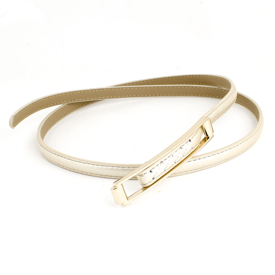 Champagne Color Faux Leather Coated Adjustable Slender Waist Belt for Women