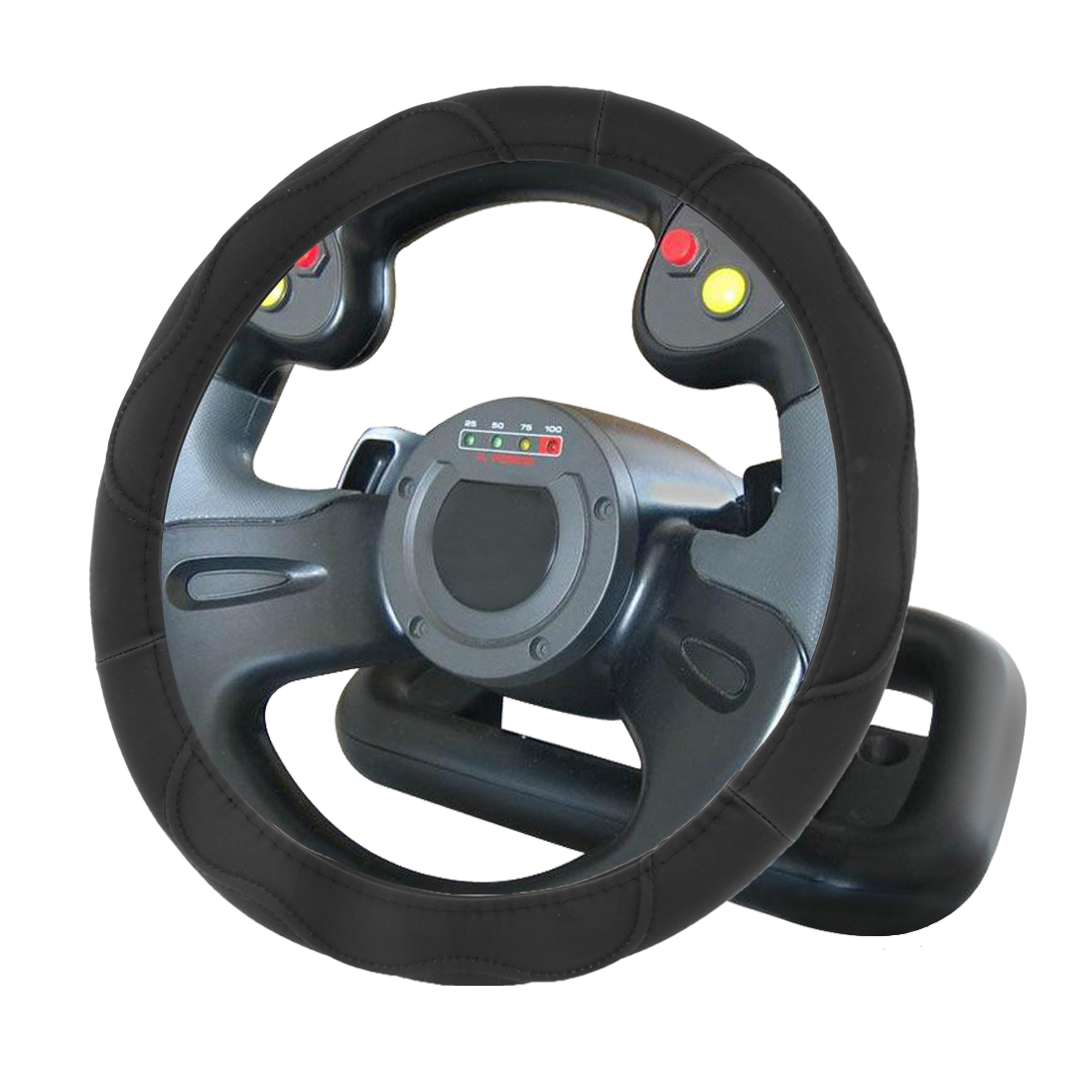38cm Dia Black Faux Leather Steering Wheel Protector Cover for Car
