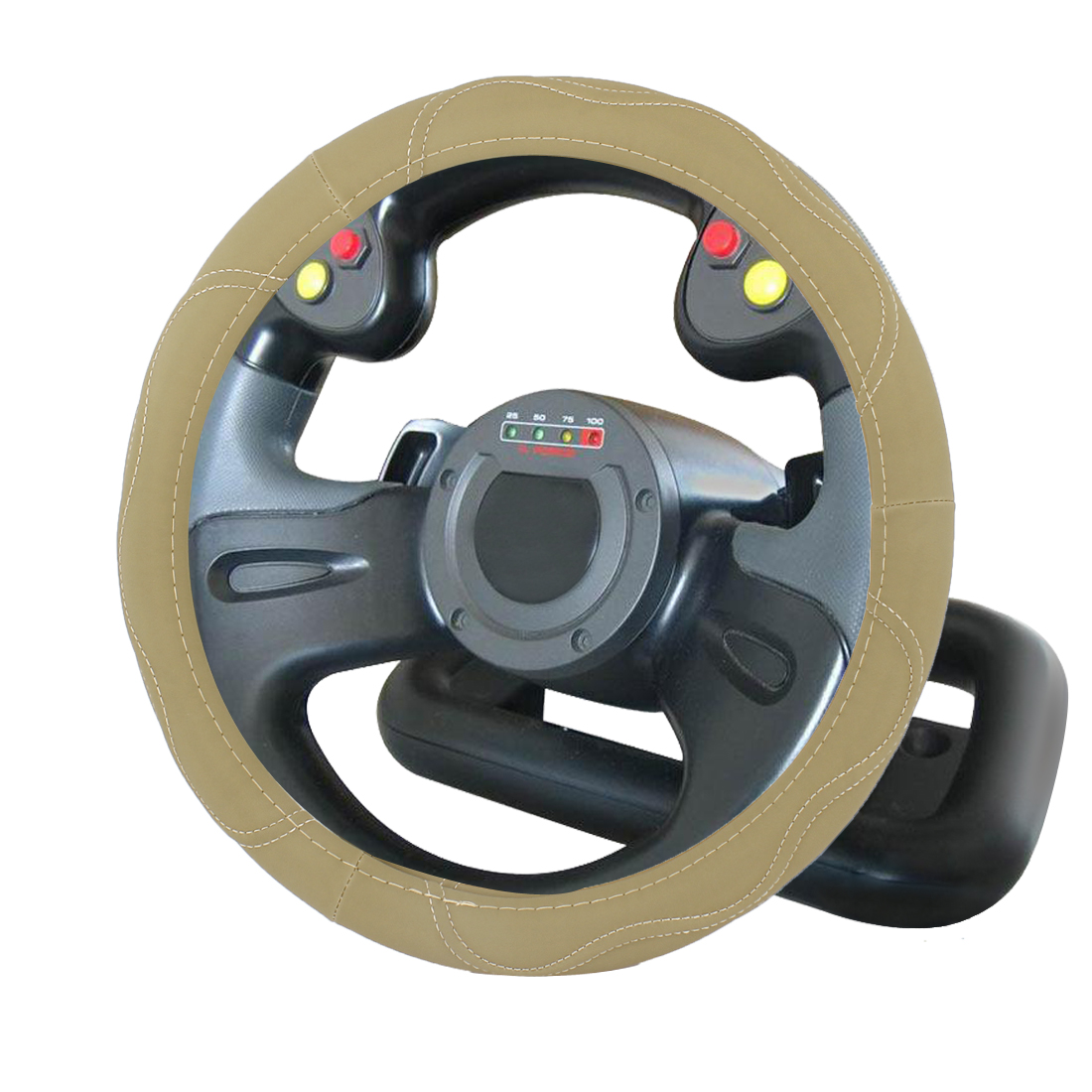 38cm Dia Khaki Faux Leather Steering Wheel Protector Cover for Car