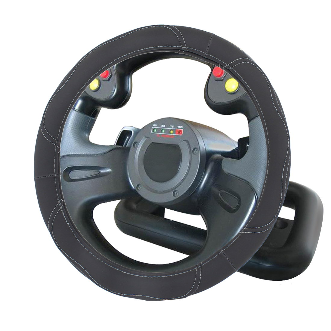 Vehicle Car 36cm Dia Gray Faux Leather Steering Wheel Cover Protector
