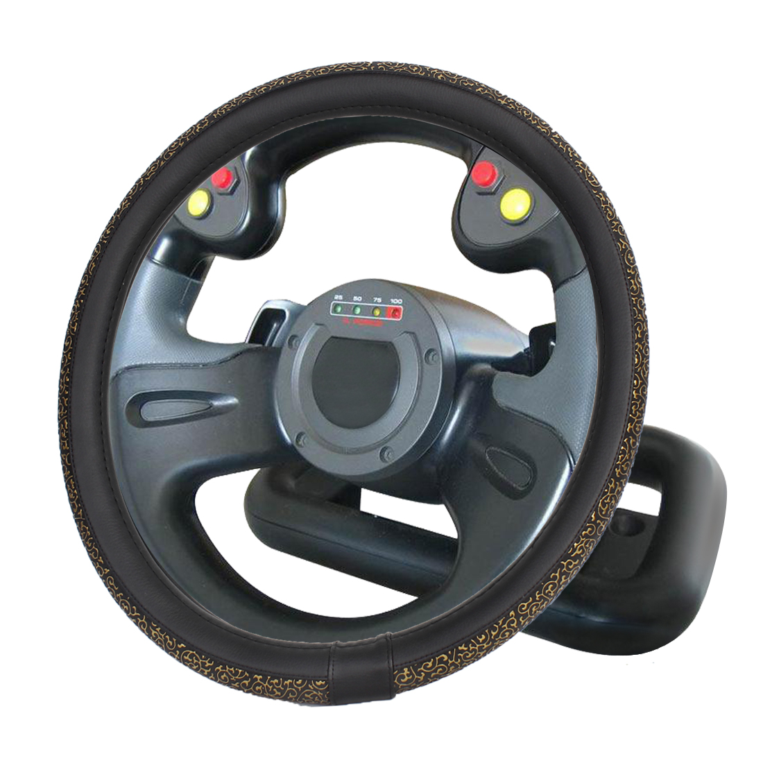 36cm Bronze Tone Black Carved Pattern Faux Leather Steering Wheel Cover for Car