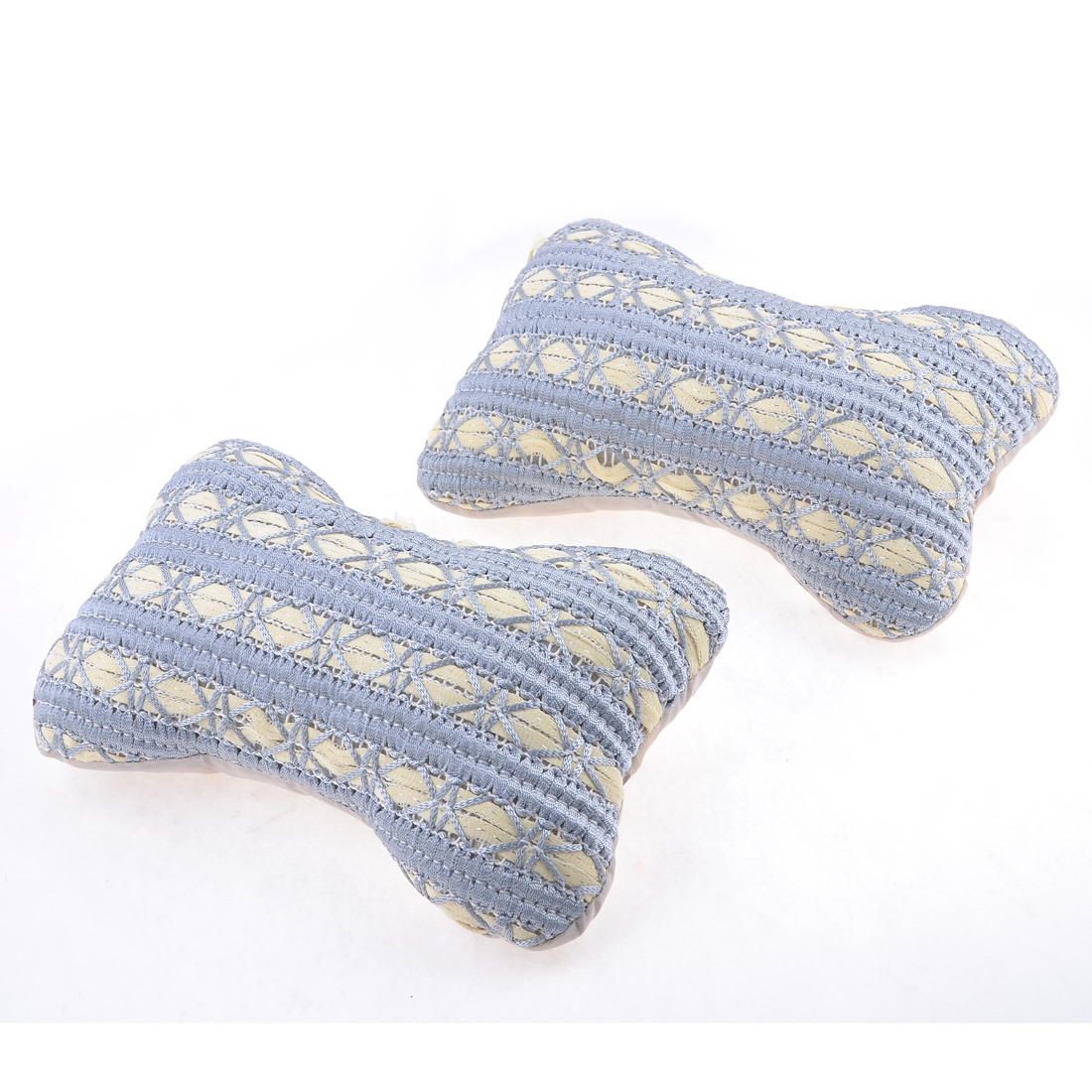 Pair Auto White Pale Blue Elastic Strap Bone Shaped Nylon Head Rest Cushion Pillow