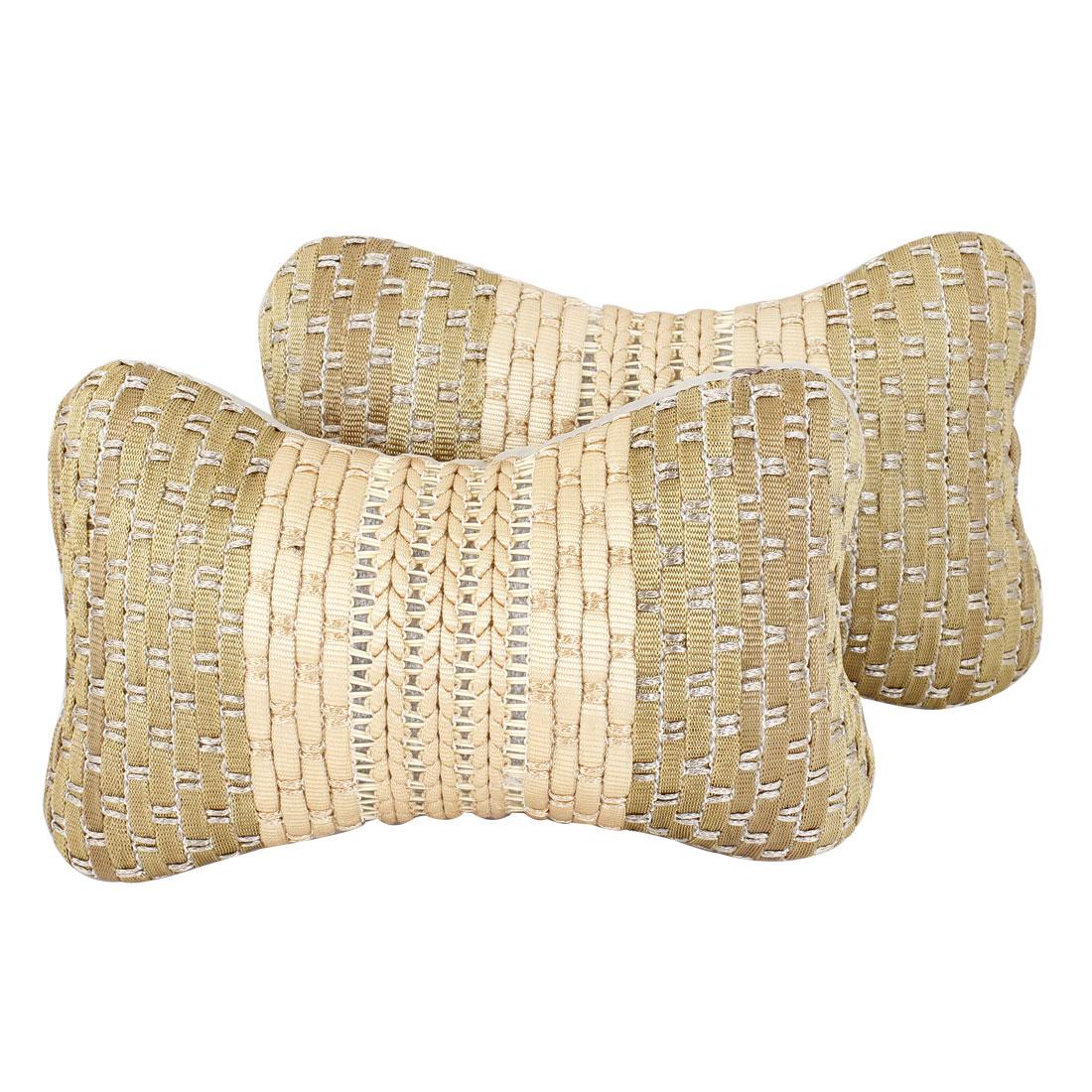 Home Car Sponge Stuffed Zip up Head Supporter Pillow Pale Apricot Khaki x 2