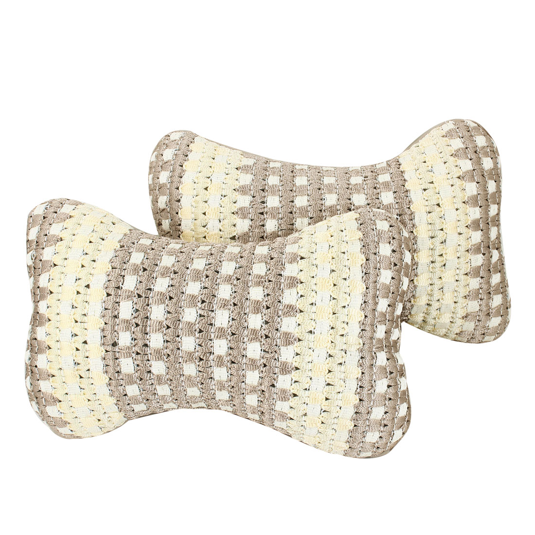 2 x Ivory Khaki Bone Design Weave Pattern Head Neck Rest Pillow Pad for Car