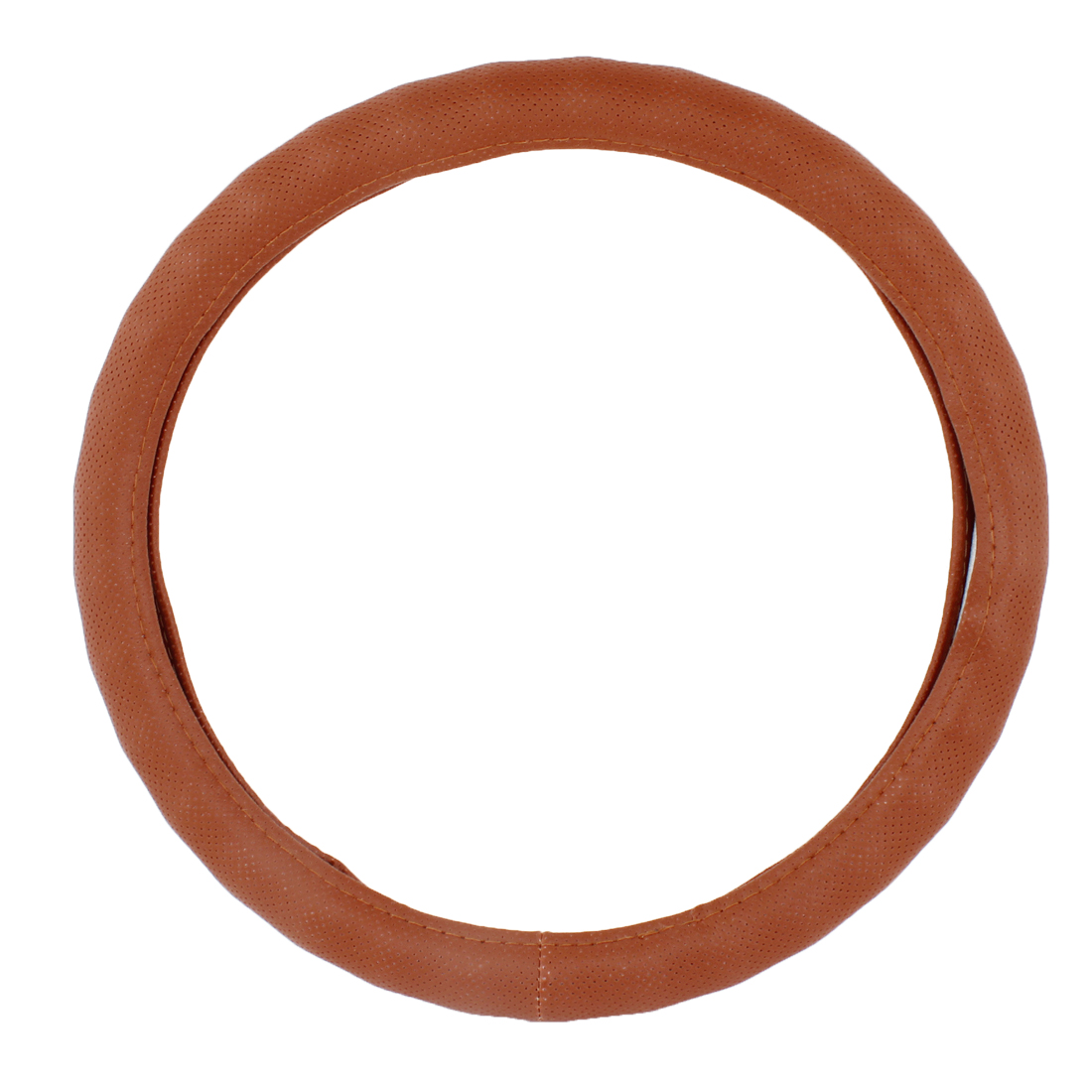 "15"" Dia Brown Mesh Design Faxu Leather Steering Wheel Holder Cover for Auto"