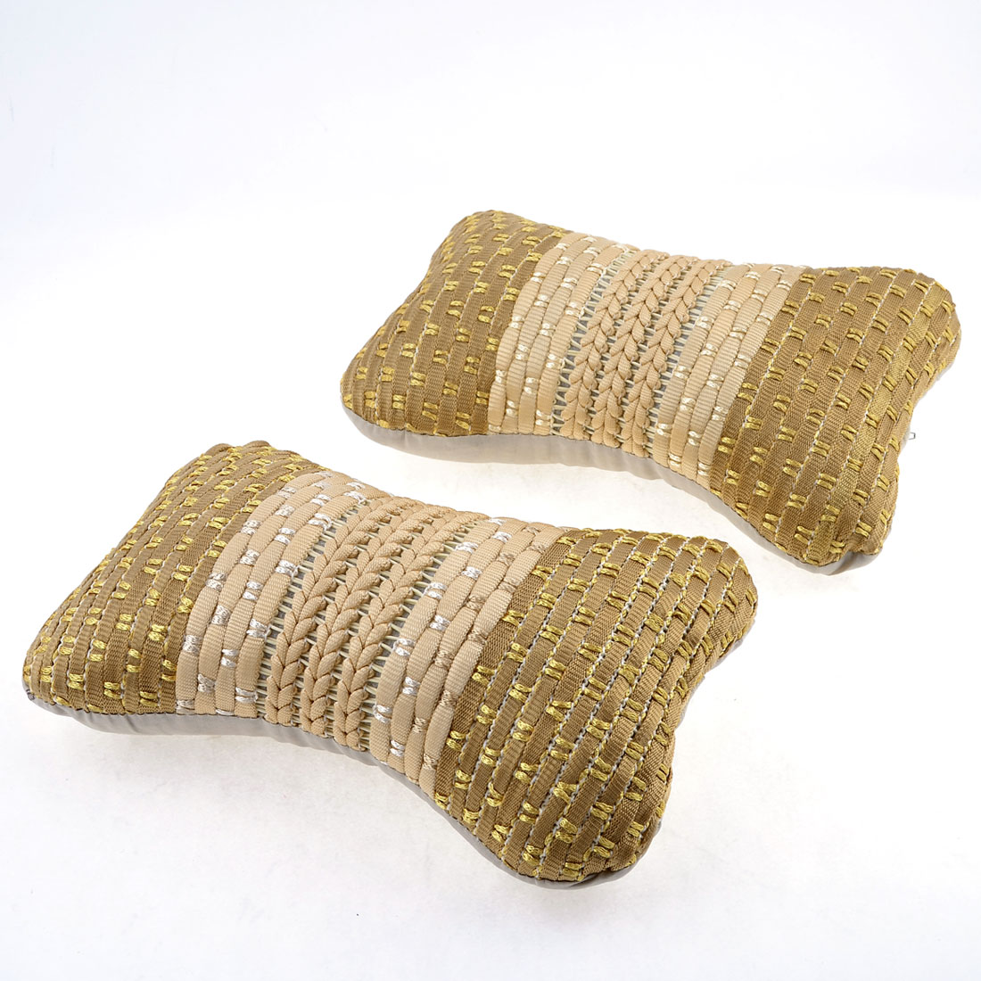 Pair Beige Gold Tone Nylon Knitted Zip Up Neck Rest Pillow for Automobile Car