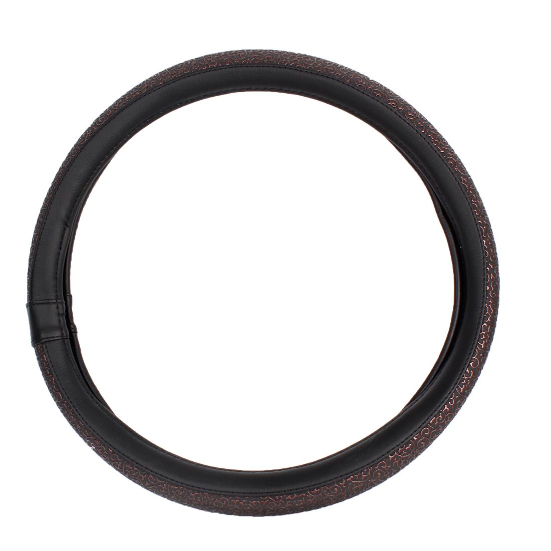 38cm Dia Brown Black Nonslip Faux Leathr Steering Wheel Cover Protector for Car