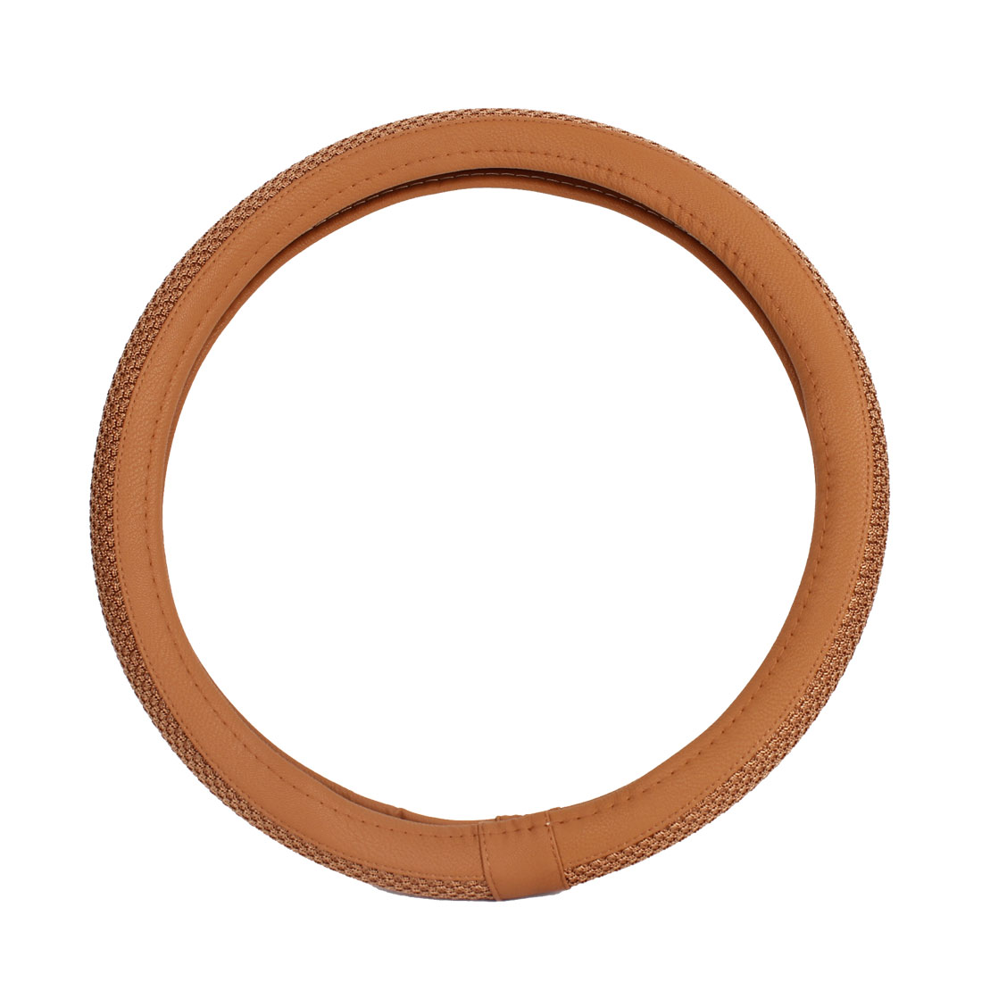 Brown Braided Nonslip Steering Wheel Protector Cover 38cm for Car