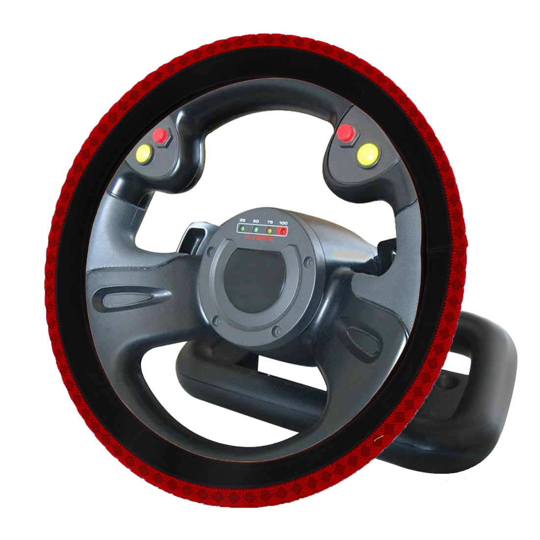 38cm Dia Red Rhombus Pattern Nylon Coated Steering Wheel Cover for Car