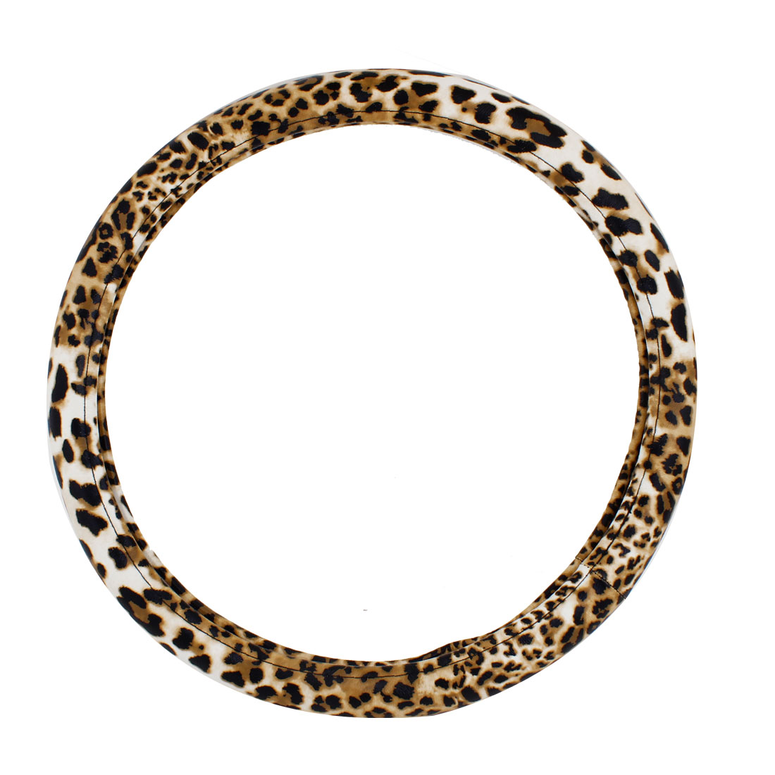 38cm Dia Leopard Pattern Faux Leather Steering Wheel Cover Guard for Car