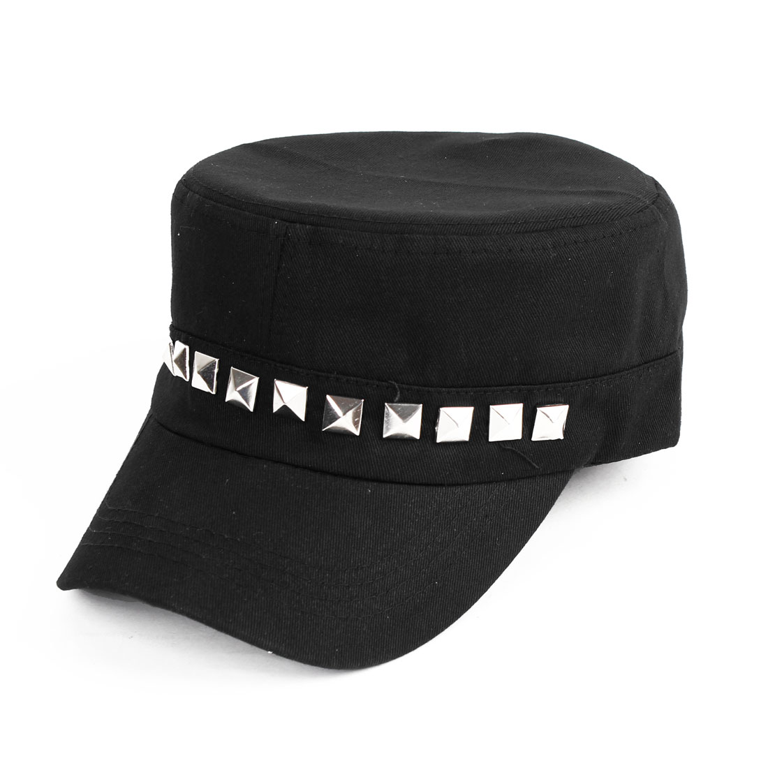 Unisex Rivet Decor Sun Visor Design Denim Baseball Cap Hat Black