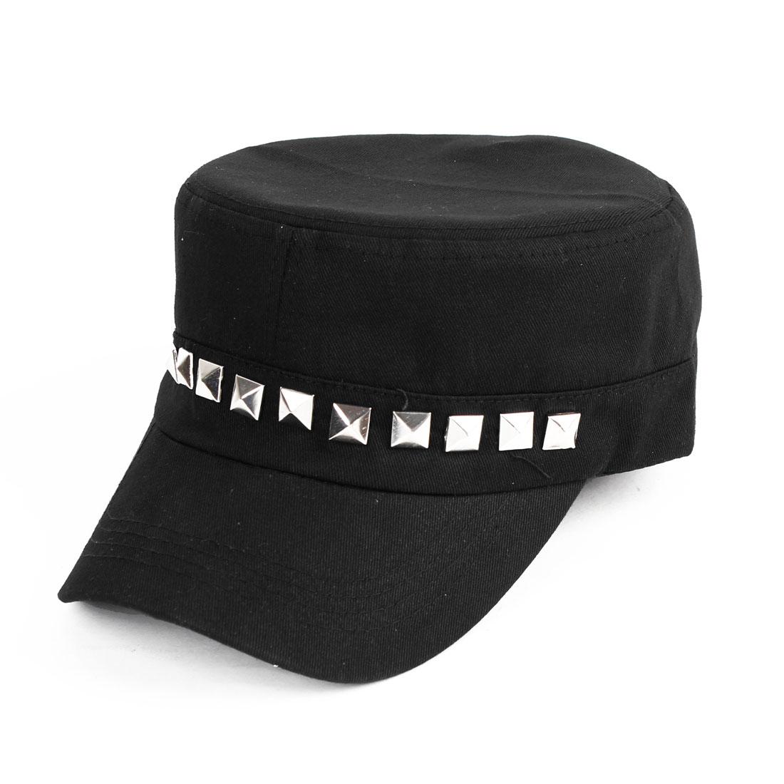 Unisex Rivet Decor Sun Visor Design Denim Baseball Cap Hat Black