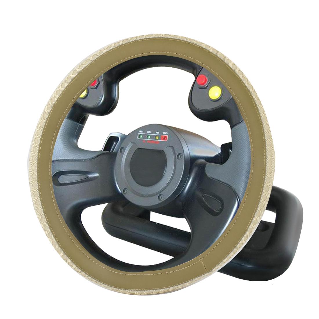 Vehicle Car Rhombus Printed Textured Steering Wheel Cover 38cm Dia Beige