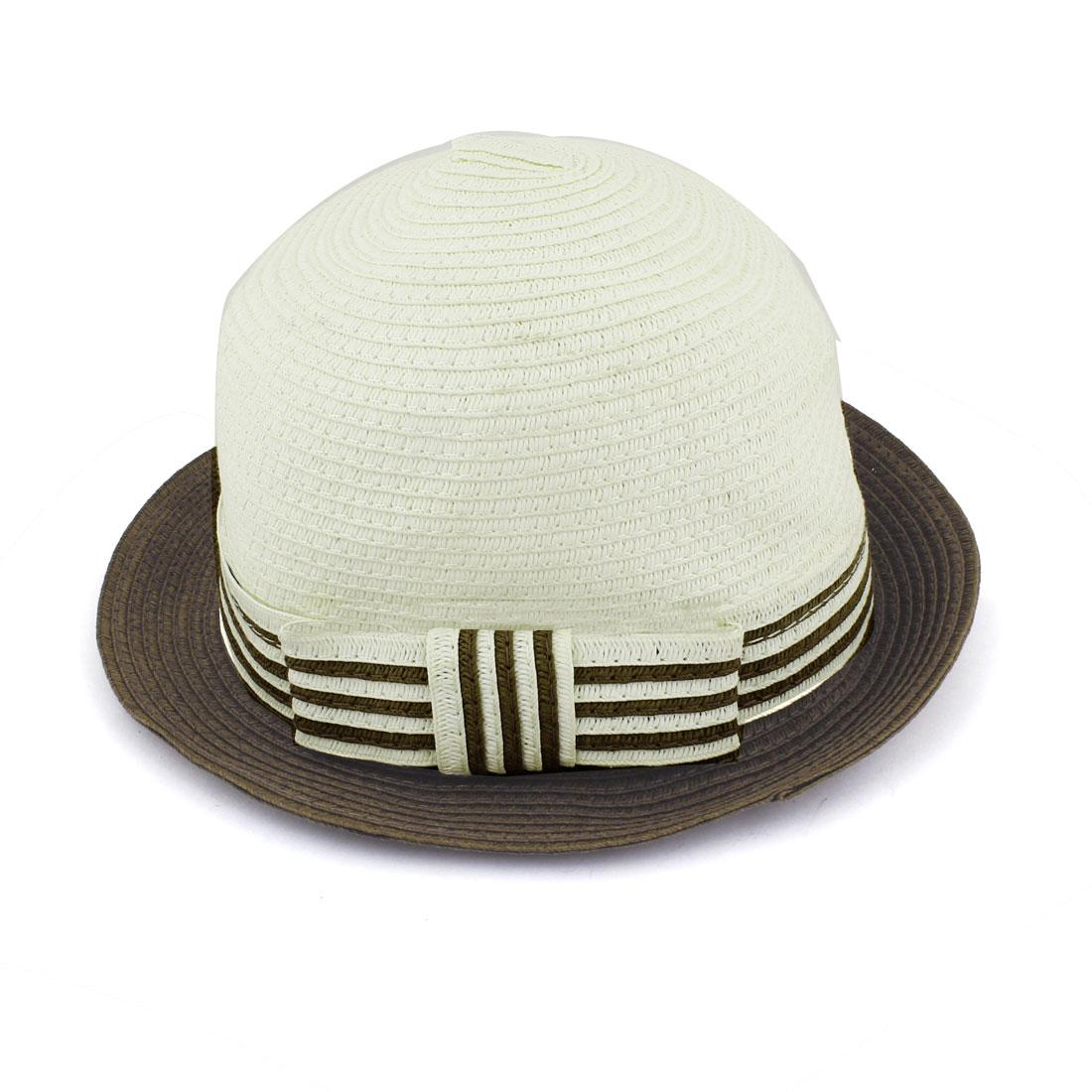 Brown Beige Straw Braided Round Brim Panama Hat Cap for Women