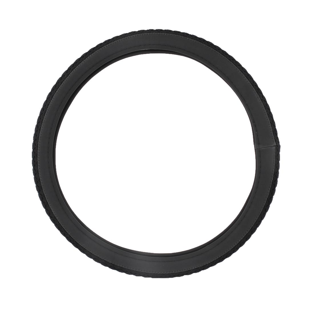 "Black Braid Rhombus Print Power Steering Wheel Cover Wrap 15"" Dia for Car"