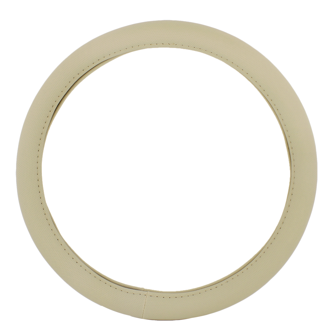"""Vehicle Car 15"""" Dia Beige Faux Leather Steering Wheel Cover Wrap"""