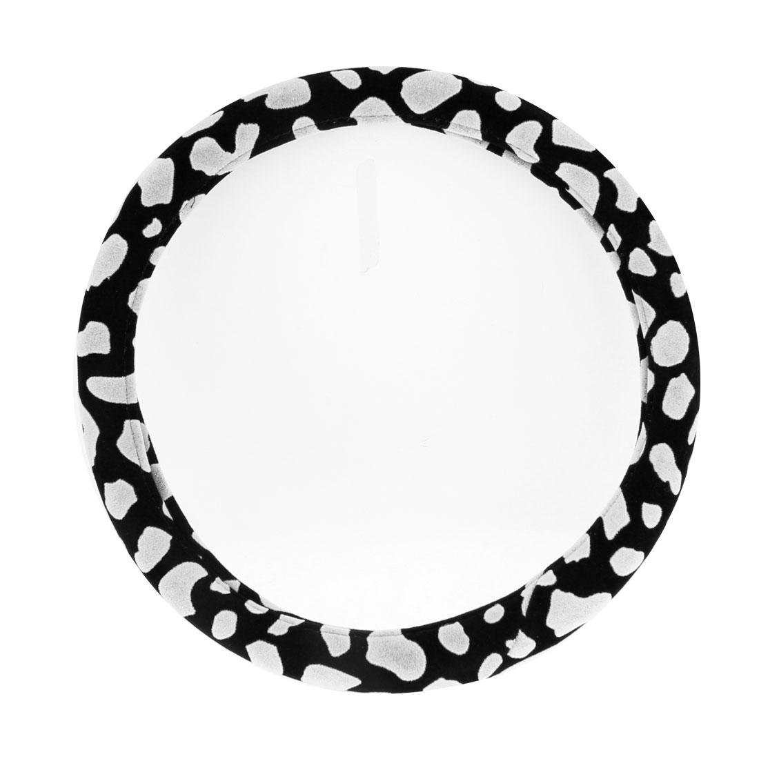"Black White Velvet Coated Protective Steering Wheel Cover 36cm 14.2"" for Car"