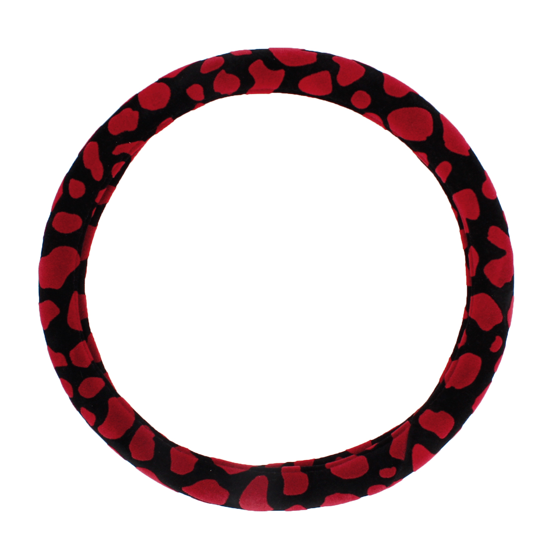 "38cm 15"" Dia Black Red Velvet Coated Steering Wheel Cover Protector for Car"