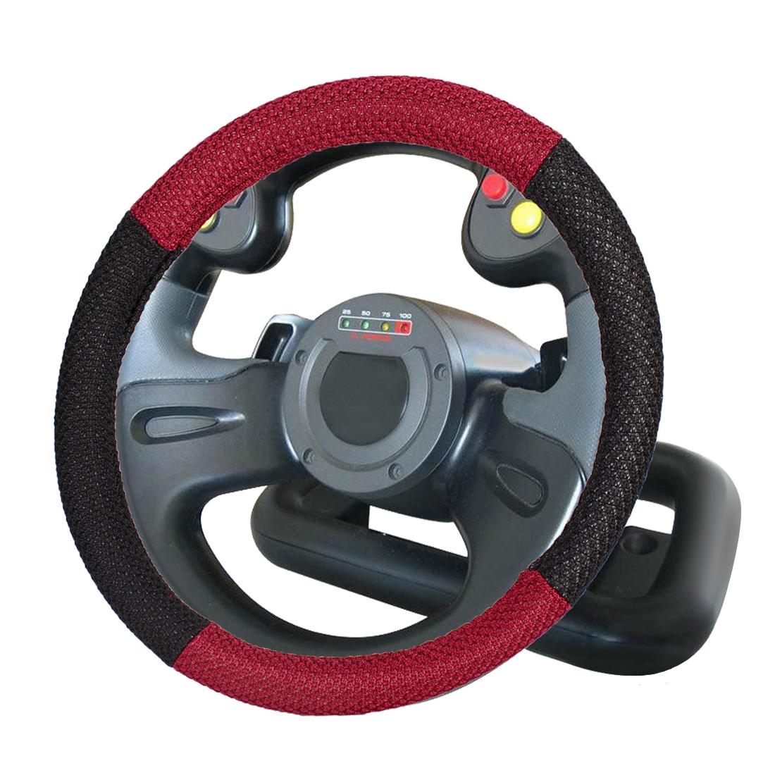 38cm Dia Black Red Nylon Braided Nonslip Steering Wheel Cover Guard for Car