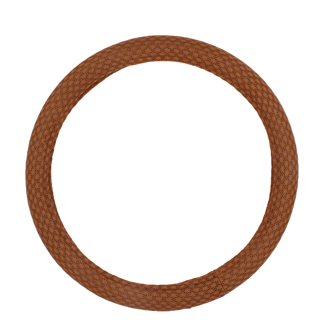 Auto Chocolate Color Mesh Style Nylon Steering Wheel Cover Protector 38cm Dia