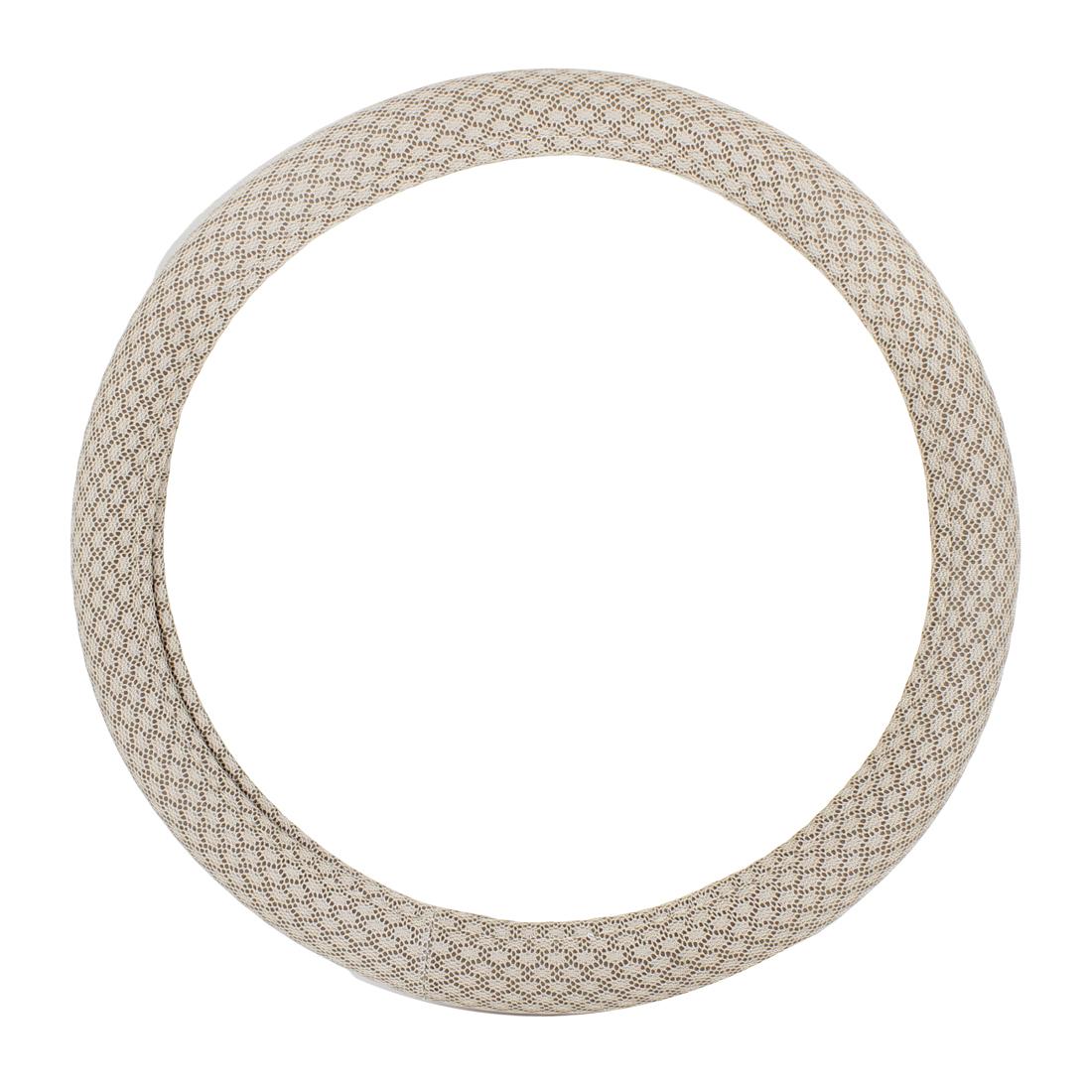 """15"""" Dia Light Beige Mesh Design Nylon Steering Wheel Cover Sleeve for Car"""