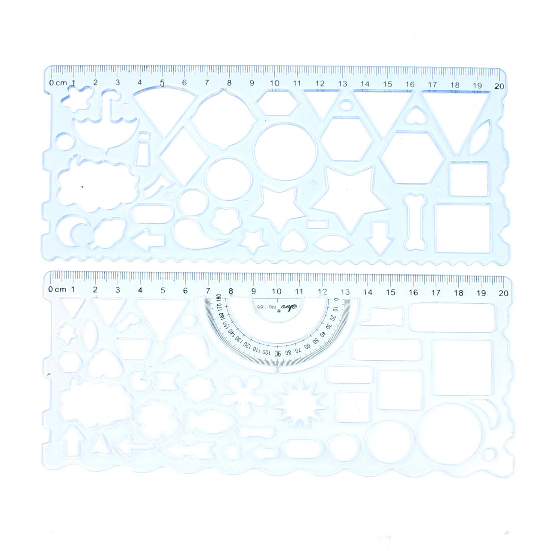2 in 1 Clear Blue Plastic Art Drawing Centimeter Ruler Set