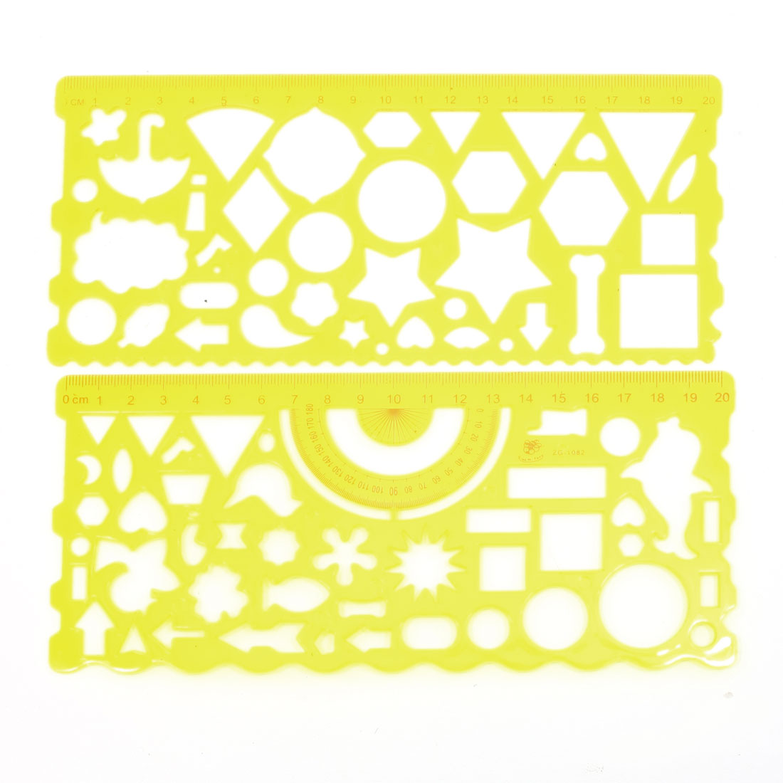 2 in 1 Clear Yellow Plastic Art Drawing Centimeter Ruler Set