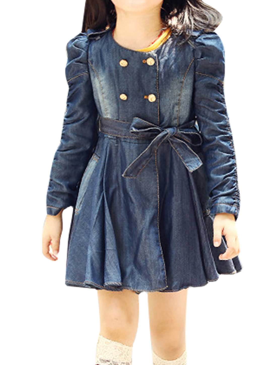 Double-Breasted Front Self-Bowtie Belted Navy Blue Denim Trench Coat for Girl 7