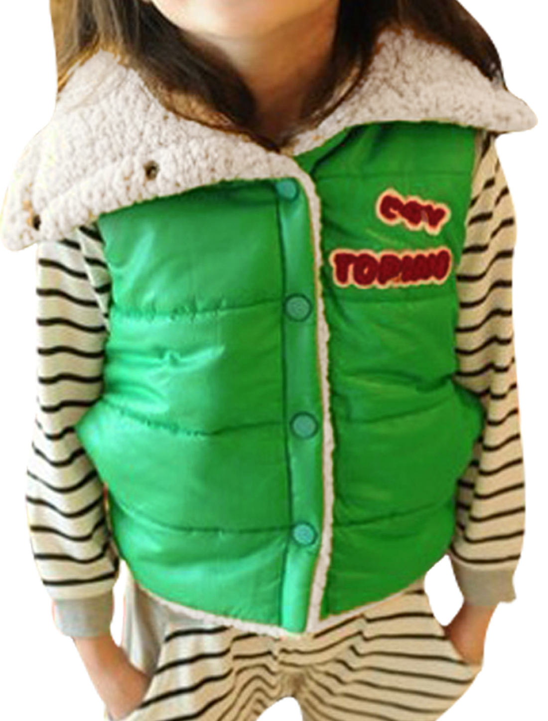 Kids Convertible Collar Letters Panel Design Green Padded Vest 8